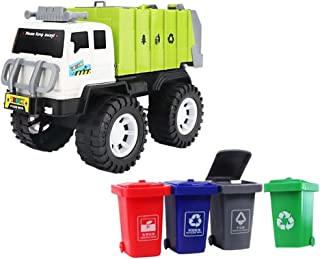 Kisangel Garbage Sorting Toy Garbage Truck Toy with 4 Rear Loader Trash Cans Dump Toy Truck Play Vehicles Car Waste Manage...