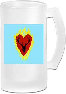 Printed 16oz Frosted Glass Beer Stein Mug Cup - Game Of Thrones Stannis Baratheon Sigil Stagg In A Heart Of Flames - Graphic Mug