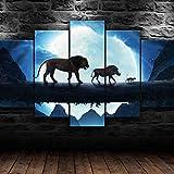 AWER 5 Paneles Cuadros En Lienzo Imágenes Decorativas El Rey León Simba Pumba Timon Wall Art Decoración del Hogar Impresiones HD Póster Mural De La Decoración De La Pared con Marco