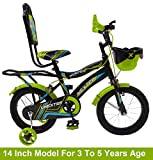 Outdoor Bikes Unexter Kid's Bicycle (14 Inch, 3 to 5 Years, Green Black)