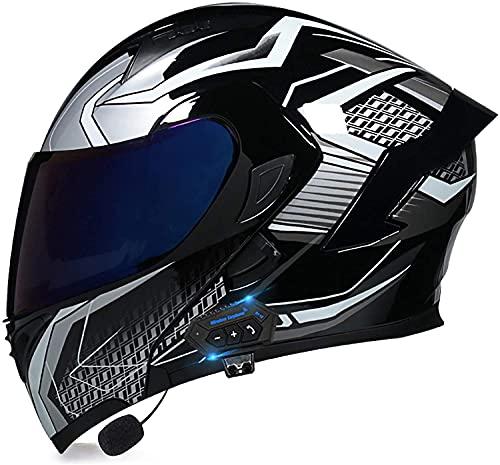 Egrus Casco Plegable de la Motocicleta integrada de la Motocicleta Casco Plegable de la Motocicleta con Anti-Niebla de Doble Cambio ECE Certificado L (Color : YU, Size : XL)