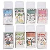 8 tipos de cinta adhesiva Washi de colores brillantes con delicada caja de papel adhesivo DIY Scrapbooking Postales Tarjetas Sobres Fácil de publicar y rasgar