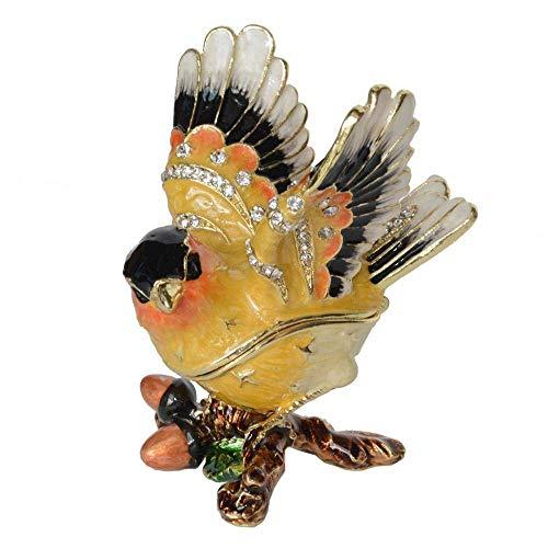 Mnjin Decoración del hogar Escultura de Metal Escultura de Vida Silvestre Ornamento de Estatua Jilguero Pájaro Baratija Caja de Joyas Figuras de pájaro Decoración Vintage Regalos creativos