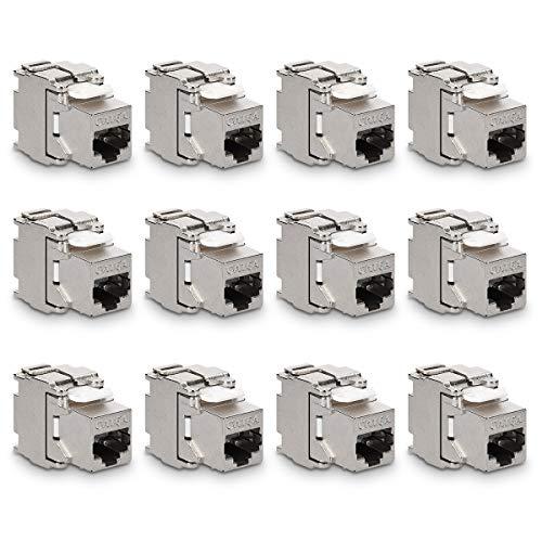 kwmobile 12x Keystone Modul für CAT 6A Kabel - 10 Gbit/s geschirmt Metall Gehäuse Schnappverschluss - werkzeugfreier Anschluss an Modular Patchpanel