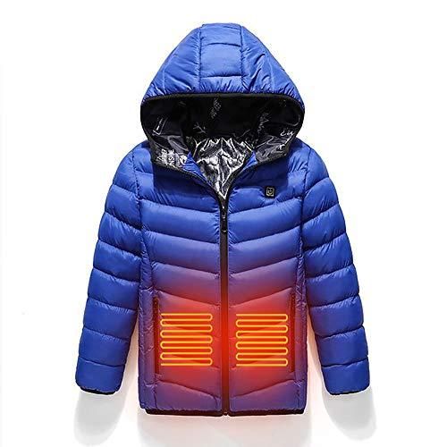 Kiyte Chaquetas térmicas Ligeras para niños,Carga USB,Ropa calefacción Temperatura Ajustable Inteligente,3 Zonas calefacción,Impermeable y Resistente Viento,Invierno (sin Banco energía),Azul,140CM
