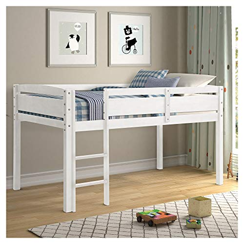 Loft Bed for Girls with Full-Length Guardrail and 3 Lattice Ladder for Family Bedroom and Students Apartment U.s. Local Shipments Can Be Delivered Quickly (Color : White)