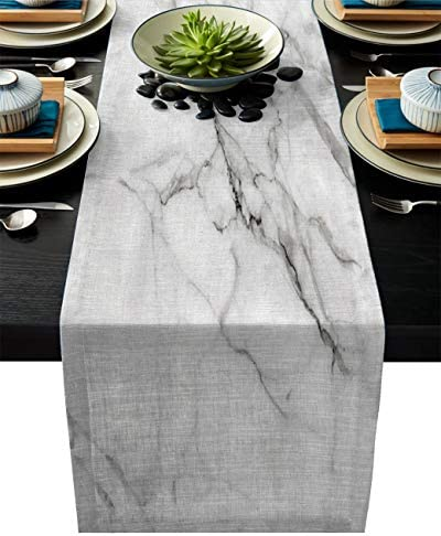 Linen Burlap Table Runner Dresser Scarves 13 x 70 Inch Marble Texture Kitchen Table Runners product image