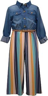 Girls 4-6x 7-16 Denim Stripe Bonnie Jean Jumpsuit