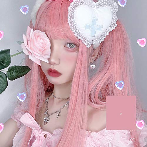 Perruque Femmes Synthétique longue Perruques droites plat Bangs naturel for les femmes cosplay perruque rose Postiches