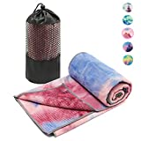 Masdery Yoga Towels(72''×24'')-Non Slip Hot Yoga Towel Skidless Waffle Texture Ideal for Gym Hot Yoga and Pilates Odorless Microfiber with Multiple Colors Yoga Towel (Pink)