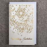 Art NUVO WEDDING INVITATIONS CARDS - 20 unidades, 130 x 205 mm, WITH PRINTABLE INNERS AND ENVELOPES PARA WDDING - CUT, GOLD FOILED, EMBOSSED Design with ENGRAVED INSCRIPTIONS ON IVORY DECORATIVE PAPER