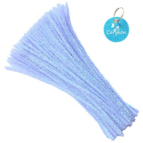 Carykon 100 PCS 12 Inch Iridescent Sparkly Tinsel Stems Pipe Cleaners (Light Purple)