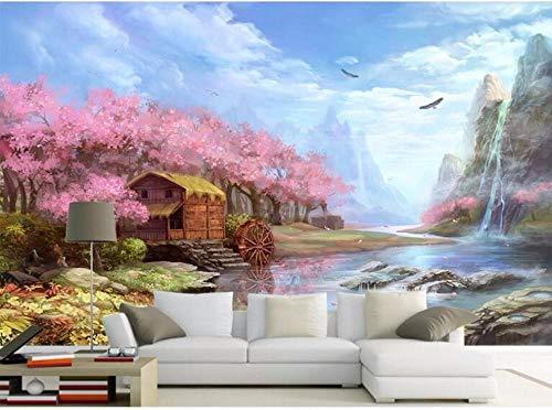 Papel Tapiz Fotográfico 3D Paisaje de río de árbol rosa Moderna Fotomurales Decoración De Pared Sala Cuarto Oficina Salón 400 cm x280 cm