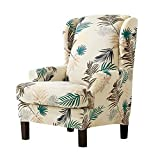 RecoverLOVE 2 Stück Wingback Stuhl Schonbezüge Stretchy Wing Sesselbezüge Abnehmbare Spandex Sofabezüge Blätter Gedruckt Möbel Beschützer (Gelb)