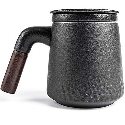Tea Mug with Sandalwood handle, 13 oz, Ceramic Tea Cup, with Porcelain Infuser and Lid for Hot Tea or Coffee, Gift Set, 1-Pack (Matte Grey)