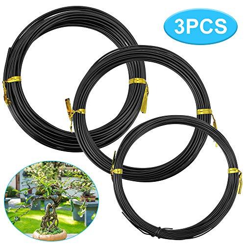 KLYNGTSK 3 Rollos Alambre Bonsai de Aluminio Anodizado Cable