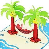 3D-Pop-Up-Karte mit Palmen und Hängematte XXL z.B. als Reise-Gutschein, Wellness-Urlaub, Verpackung für Geldgeschenke o. Urlaubsgeld, Erlebnis-Gutschein für Kurzurlaub, Urlaubskarte