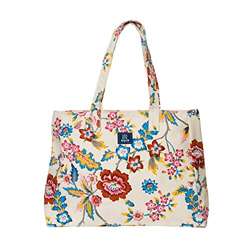 AQVA Cotton Canvas Shoulder Bag/Tote Bag For Women, Printed Multipurpose Handbag With Top Zip, Best For Shopping, Travel, Work, Beach, Office, College