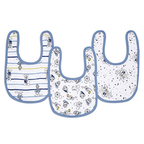 aden + anais essentials - Pack de 3 bavoirs à boutons-pression pour bébé prélavés en mousseline 100% coton - Bavoir très absorbant - Ajustable - Garçon - Imprimé Mickey Stargazer - 23 cm x 34 cm