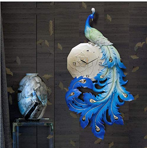 FTFTO Living Equipment Wanduhr Pfau Harz China Ornamente Wandbilder Home Wohnzimmer Licht Silent Wanduhr Wandbehang Handwerk