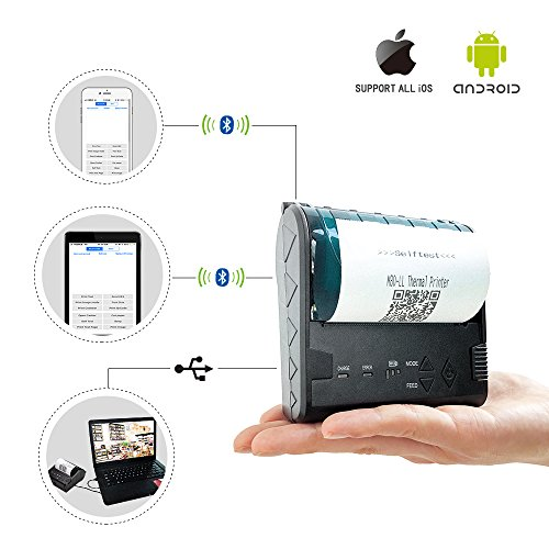 ZKTeco Mini Wireless Bluetooth Printer,...