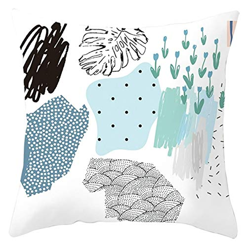 Cenliva Mini Cushion Covers, Decorative Pillowcase White Blue Pillow Protection Polyester Abstract Painting Dot Leaf 40x40CM 16x16IN