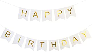Happy Birthday Banner, Birthday Decorations Versatile, Beautiful, Swallowtail Bunting Flag Garland, Chic White and Gold