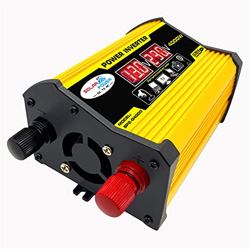 SDDDS Convertidor de Fuente de alimentación, Pico 4000W DC12V a AC220V, Pantalla LED, Adaptador de inversor de Potencia de automóvil, Transformador de Voltaje de 2SB Modificado Onda sinusoidal