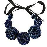 VANKER Rosas Flores Collar Colgante de Vintage joyería de Las Mujeres Resina cristalina - Azul