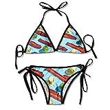 Bacon Bikini de triángulo Sexy para Mujer Traje de baño de Bikini Lateral con Lazo de triángulo Ajustable Traje de baño de Playa Negro de poliéster de 2 Piezas