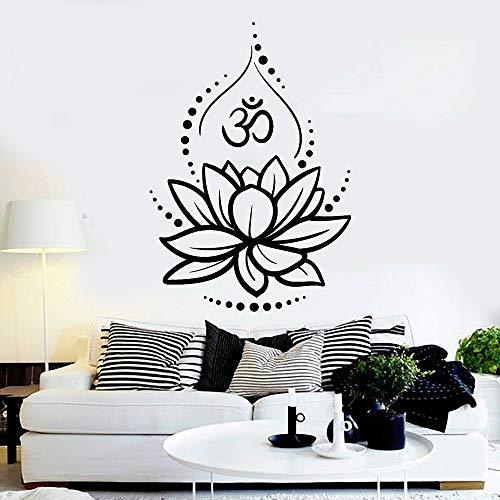 Fiore di Loto Decalcomania di Arte del Vinile Arredamento Camera da Letto Studio di Yoga Induismo Indiano Ohm Simbolo Adesivo da Parete Meditazione Camera Poster Art murales