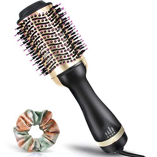 Haartrockner Warmluftbürste - 5 IN 1 Multifunktions Föhnbürste mit 3 Temperaturen & 2 Luftstromstufen - Salon Negativer Lonic Hair Dryer Volumizer, Heißluftkamm Lockenwickler für Alle Haartypen