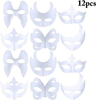 FunPa 12 Piezas Máscara Blanco DIY Sin Pintar Máscara Blanca Máscara de Mascarada Decoración de Bricolaje Máscaras de Fiesta Pintura Carnaval Cosplay Día del Niño Regalo para Niños Mujeres Hombres