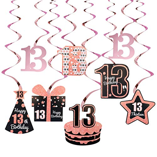 Excelloon 13th Birthday Decorations for Girls - 8Pcs Foil Hanging Swirl Streamers - 13 Years Old Birthday Hat Cake Gift Star Decorations - Happy Thirteen Birthday Party Supplies(Rose Gold)