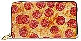 Carteras Estampadas con Cremallera Alrededor para Mujer Cartera De Embrague Organizador De Tarjetero-Negro-Talla Única, Cartera De Cuero con Estampado De Pepperoni De Pizza 3D