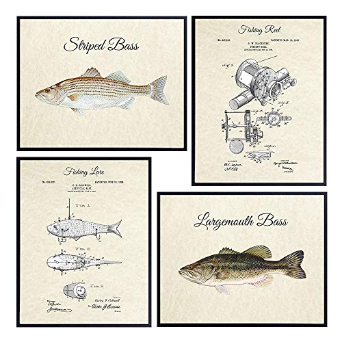 Bass Fishing, Lure, Reel, Patent Print Set - Vintage Rustic 4-8x10 Wall Art, Home Decor, Room Decoration Photo Pictures - Lake or River Fish Posters - Gift for Freshwater Fishermen, Fisherman, Angler