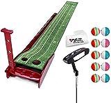 FEE-ZC Tragbares Dickes Holz für den Innenbereich, für Golf, Grün mit Auto Ball Return Funktion, Mini Golf Übungshilfe, Spiel und Geschenk für Zuhause, Büro, Outdoor, C