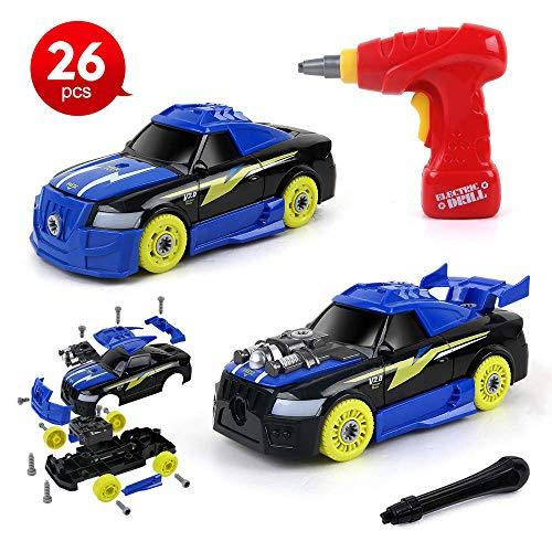 BeebeeRun 2 in 1 Kit Costruzioni Giocattolo per Bambini, Auto da Corsa Smontabile Macchinina con Luci e Suoni Realistici, Regalo Creativo per Bambini 3 4 5 6 Anni