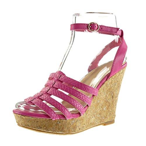 Angkorly - Damen Schuhe Sandalen Mule - Plateauschuhe - Schlangenhaut - Multi-Zaum - Wooden Keilabsatz high Heel 11.5 cm - Fushia F-187 T 40