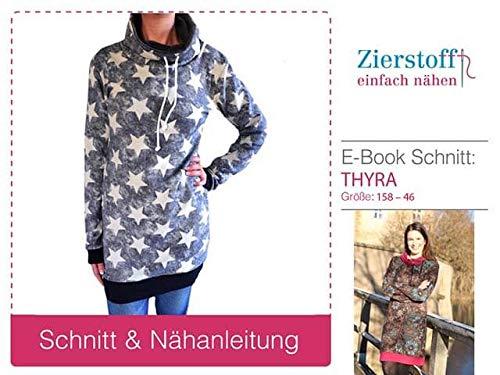Zierstoff einfach nähen Schnittmuster, Kleid/Pullover mit Rollkragen oder Schalkragen Thyra, Gr. 158 bis Damengr. 46 - digital
