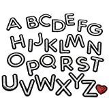 Sequin Silver Letter Iron On Patches A-Z Alphabet Sew On Appliques Red Love Heart Badge with Ironed Adhesive Embroidered Decorative Repair Patches for Shoes, Hat, Bag, Clothing
