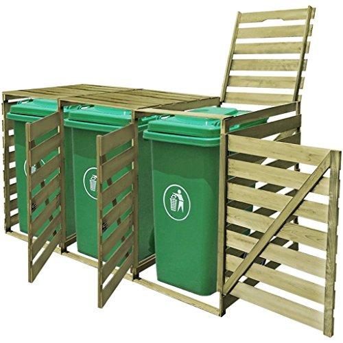 Tidyard Mülltonnenbox aus Holz Mülltonnenverkleidung Mülltonnenschrank (für 3 Tonnen Imprägniertes bis 240 Liter) wetterfest für draußen/Outdoor geeigne