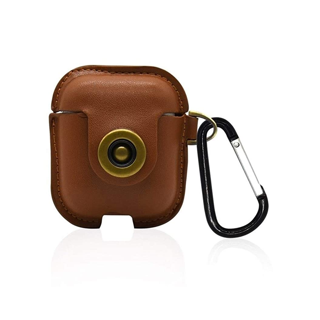 ゴムファンブルライフルLHSY 適用Airpodsレザーケース、Bluetoothのケース、アンチスクラッチバッグ、ワイヤレスボックスイヤホンホルスターを充電 (Color : Brown)