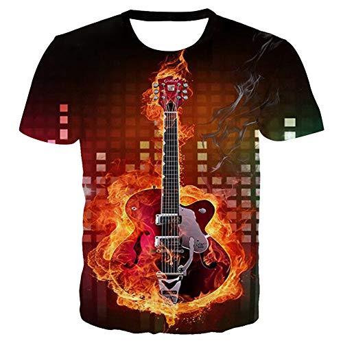 Fairy jj Mode für Männer drucken 3D Sommer Casual Kurzarm-T-Shirt, 3D Digitaldruck Noten Gitarre Musiknoten EIS Feuer lose Rundhals Kurzarm-T-Shirt