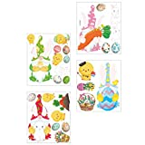ABOOFAN 4 Piezas de Pegatinas de Pared de Pascua DIY Autoadhesivas de Dibujos Animados de Conejo Huevo Pollo Nevera Enana Pegatina Escaparate Puerta de Cristal Pegatina para Home Shop
