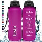 Grsta Botella Agua - Botella de Agua Deportes 1.5L Botella Deportiva Tritan de Plástico Sin BPA con Filtro & Marcador de Tiempo para Niños y Adultos, Hogar y Exterior