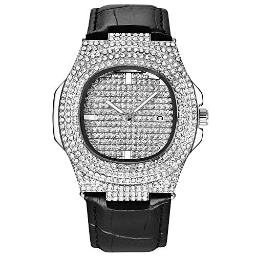 Bling-ed Out Rapper's Luxury Hip Hop Mens Watch con cinturino in pelle