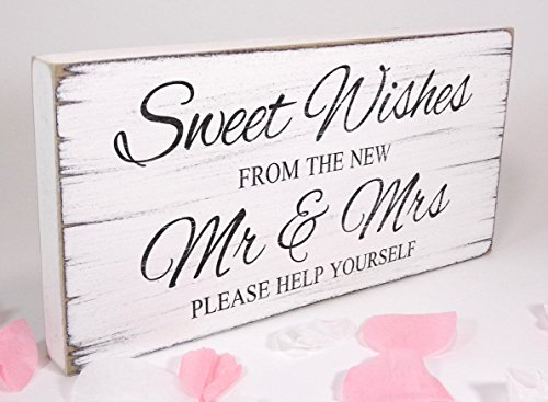 Free Standing white Vintage Wedding Table Sign - Shabby but Chic - White - Sweet Wishes