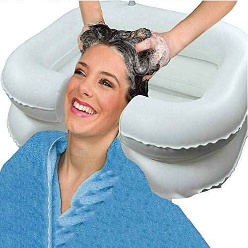 WWSZ Lavabo de champú Inflable cómodo Blanco,Portátil Inflable Champú Cuenco para En Cama Pelo Lavado,lavacabezas portatil peluqueria para Heridos, Ancianos, Bed-Bound, Discapacitados