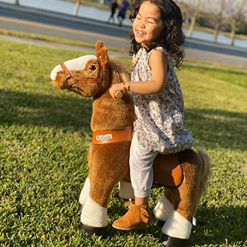 PonyCycle Official Classic U Series Ride on Horse Toy Plush Walking Animal Brown Horse U3 for Age 3-5 U324